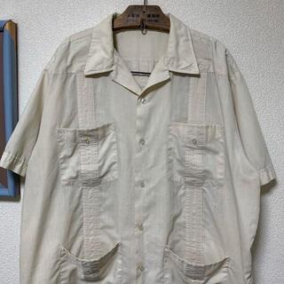 ART VINTAGE - 90s キューバシャツ 開襟シャツ デザインシャツ 生成 レトロシャツ 菅田将暉
