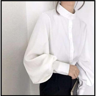 ❤即購入ok!!❤ ボリューム袖 パフスリーブ ふんわり とろみシャツ 白 春夏