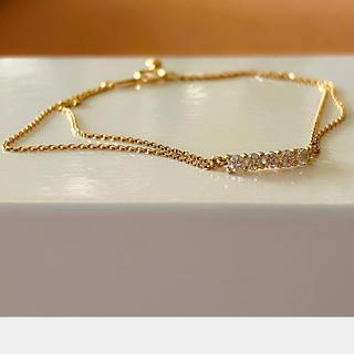 H.P.FRANCE - k18 ダイヤモンド ブレスレット 0.33ct 2連チェーン ダイヤ