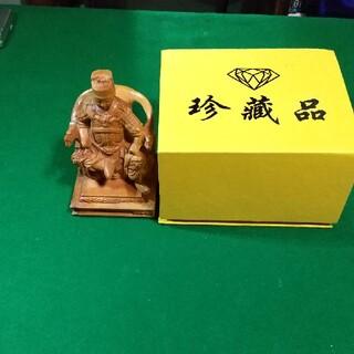 中国の戦国時代の武将の木彫像  極上彫品(彫刻/オブジェ)