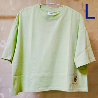 ジーユー(GU)の◆ GU ポケモン クロップドT 5分袖 グリーン イーブイ L(Tシャツ(半袖/袖なし))