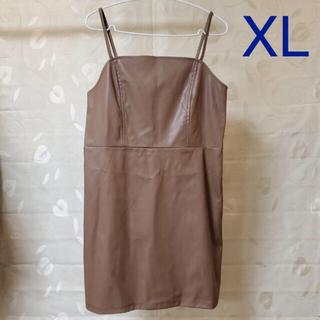 ジーユー(GU)の◆ GU フェイクレザーミニジャンパードレス ブラウン XL(ミニワンピース)