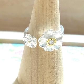 男女兼用 指輪 シルバーリング フリーサイズ ダブルフラワーD