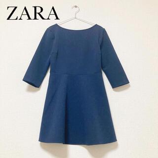 ザラ(ZARA)の【美品】ZARA 七分袖 ワンピース バッククロスデザイン ネイビー(ひざ丈ワンピース)