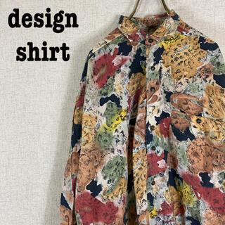 デザインシャツ 柄シャツ ポリシャツ 総柄 アート柄 長袖 ビッグシャツ
