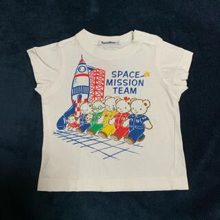 ファミリア(familiar)のTシャツ 半袖 白 おはなしTシャツ ロケット 宇宙 ファミちゃん 80 (Tシャツ)