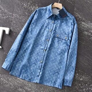 ルイヴィトン(LOUIS VUITTON)のファッションフルプリントジャカードロゴサテンシャツ(シャツ)