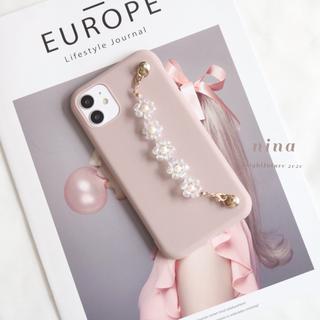 iPhone12proなど スマホストラップ お花ビーズ iPhoneケース