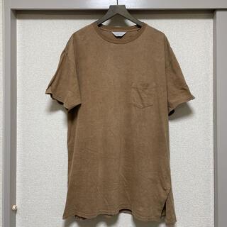 アンユーズド(UNUSED)のUNUSED ロングTシャツ ポケT ベージュカラー ビッグサイズ(Tシャツ/カットソー(半袖/袖なし))