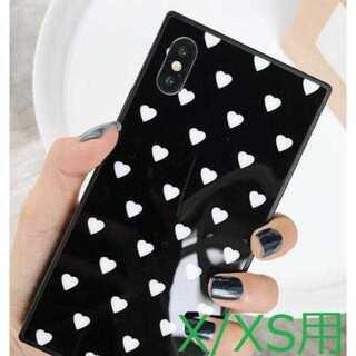 【iPhoneX/XS用】光沢ブラックにホワイトハート?