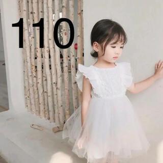 ✳︎韓国こども服✳︎ バックリボンレース ワンピース ホワイト 110 結婚式(ワンピース)