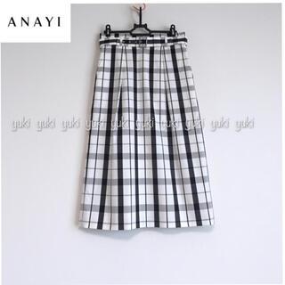 ANAYI - ANAYI チェックストレッチ タックタイトスカート
