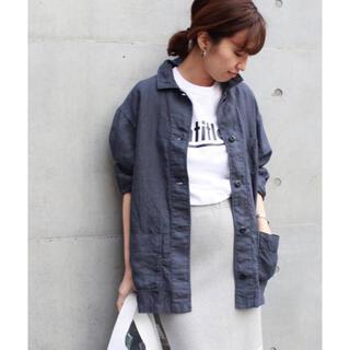 FRAMeWORK - フレームワーク☆麻ジャケットシャツ ネイビー