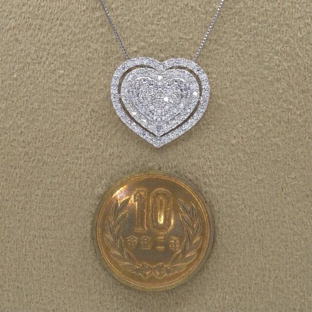 ハートモチーフ❣️ダイヤモンド 計1.00ct pt950 プラチナ ペンダント レディースのアクセサリー(ネックレス)の商品写真