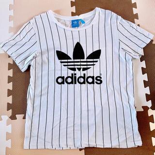 adidas - adidas Tシャツ ストライプ ロゴ ホワイト