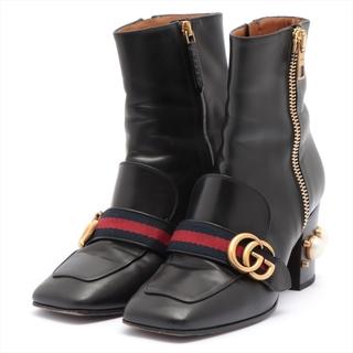 Gucci - グッチ  レザー 37 ブラック レディース ブーツ