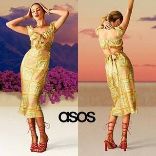 エイソス(asos)のASOS DESIGN カットアウト サテンドレス(ミディアムドレス)