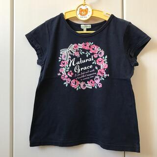 女の子130半袖Tシャツ3can4onサンカンシオン紺カットソーお花ネイビー