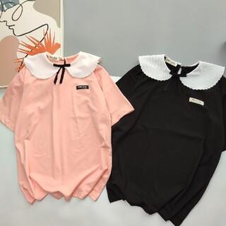 miumiu - ミュウミュウmiumiu パイナップル風襟シャツブラウス 黒SM選択可能