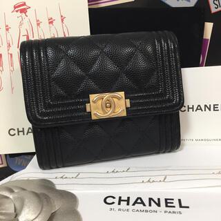 シャネル(CHANEL)の極美品☆CHANEL ボーイシャネル   キャビアスキン コンパクト財布(財布)