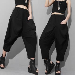 サルエル パンツ クロップド パンツ ブラック 大きいサイズ