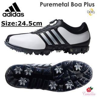 アディダス(adidas)の新品 アディダス ダイヤル式 ゴルフシューズ メンズ WH/BK 24.5cm(シューズ)