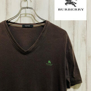 BURBERRY BLACK LABEL - BURBERRY バーバリー ロゴ Tシャツ ブラウン 茶 ワンポイント 半袖