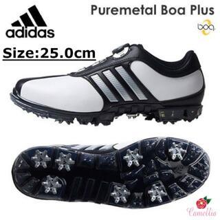 アディダス(adidas)の新品 アディダス ダイヤル式 ゴルフシューズ メンズ WH/BK 25.0cm(シューズ)