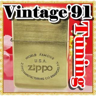 ジッポー(ZIPPO)の№489 ZIPPO U.S.A 真鍮無垢 ジッポー 1991年6月 F VII(タバコグッズ)