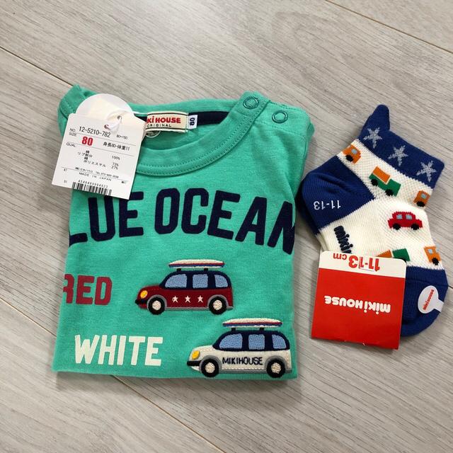 ミキハウス 新品 Tシャツ 靴下 キッズ/ベビー/マタニティのベビー服(~85cm)(Tシャツ)の商品写真