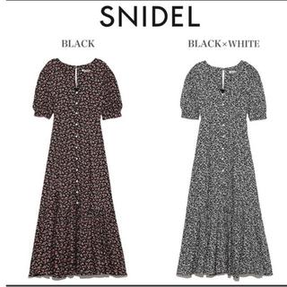 snidel - 【SNIDEL】パフスリーブプリントロングワンピース