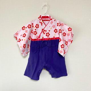 1回着用のみ ベビー袴ロンパース 袴カバーオール サイズ70-80 ベビー袴(和服/着物)