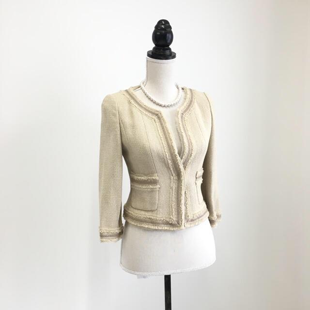 FOXEY(フォクシー)の美品 フォクシー FOXEY サマーツイード ノーカラー ジャケット レディースのジャケット/アウター(ノーカラージャケット)の商品写真