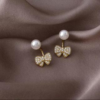 アーカー(AHKAH)の2way ribbone &perl pierce ◯s925 post(ピアス)