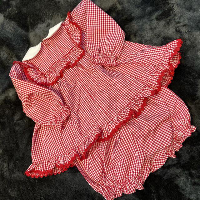Shirley Temple(シャーリーテンプル)のシャーリーテンプル美品チェリーセットアップ 80 キッズ/ベビー/マタニティのベビー服(~85cm)(ワンピース)の商品写真