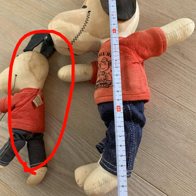 SNOOPY(スヌーピー)の☆☆布製のスヌーピー 2体まとめて☆アンティーク エンタメ/ホビーのおもちゃ/ぬいぐるみ(キャラクターグッズ)の商品写真