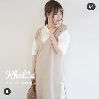 シマムラ(しまむら)のジャンスカ ベスト+Tシャツ 2セット レイヤード(ひざ丈ワンピース)