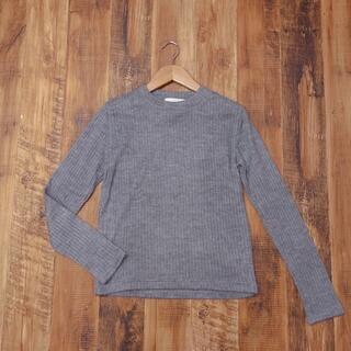 セシルマクビー(CECIL McBEE)のセシルマクビー M カットソー 起毛 薄手セーター グレー レディース JY6(カットソー(長袖/七分))