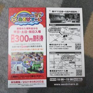 東京・湘南 あそびマーレ 300円割引券 1枚(遊園地/テーマパーク)