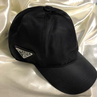 プラダ(PRADA)のPRADA プラダ ロゴ キャップ ブラック 黒 帽子 ハット(キャップ)