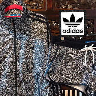 アディダス(adidas)のアディダス モノトーン 花柄 パンツ ジャージ ジャケット セットアップ 上下(ブルゾン)