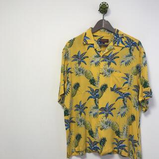 アロハシャツ★purple&yellow★メンズ★L★黄色★お洒落★
