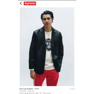 Supreme - supreme leather blazer jacket Lサイズ