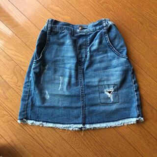 ジーユー(GU)のGU ダメージ風ジーンズスカート 140センチ(スカート)
