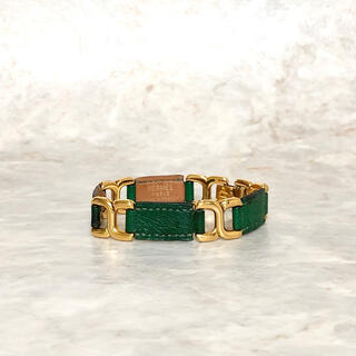 Hermes - 正規品 エルメス ブレスレット ゴールド レザー 革 グリーン 金 H ロゴ 緑