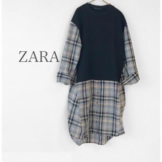 ZARA - ZARA 万能チェックシャツワンピース プルオーバー チュニックワンピ