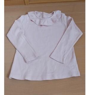 UNIQLO - 美品 ユニクロ 長袖 カットソー Tシャツ ロンT くすみピンク 100