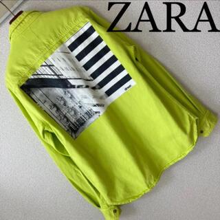 ZARA - 完売品◆ZARA ザラ◆ネオンカラー 蛍光色 3面プリント デニム シャツ M