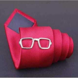 【メガネ ネクタイピン】シルバー カフスボタン タイピン ネクタイ 眼鏡 カフス(ネクタイピン)