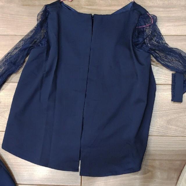 (新品)パンツドレス セットアップ フォーマル 入学式 卒業式 結婚式 ネイビー レディースのフォーマル/ドレス(スーツ)の商品写真